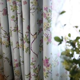 美式乡村田园定制遮光布料成品卧室客厅简约现代隔热飘窗窗帘成品