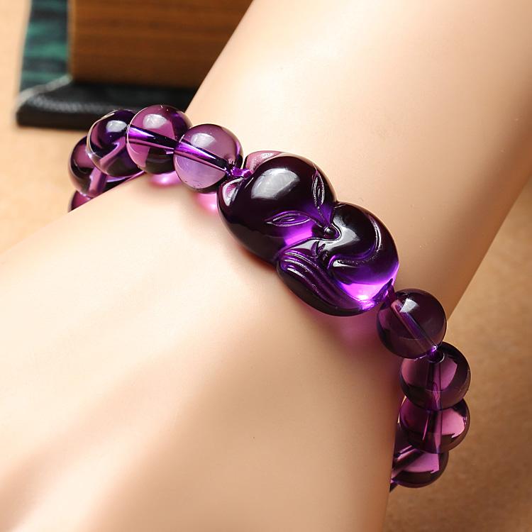 天然紫水晶狐狸吊坠 女款项坠手链紫水晶挂件 旺桃花促姻缘饰品