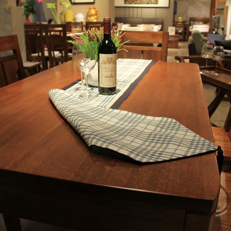 英伦蓝色格子美式桌旗简约现代茶几旗棉麻欧式桌旗田园餐桌餐旗布