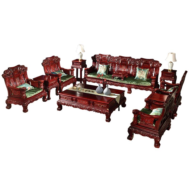 攀峰红木沙发客厅组合南美红酸枝木麒麟沙发实木新中式别墅大户型