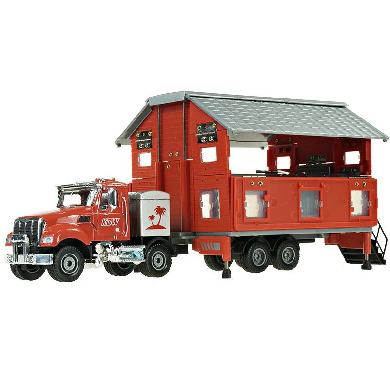 房车玩具拖挂式模型牵引式双层露营玩具车汽车男孩仿真凯迪威男孩