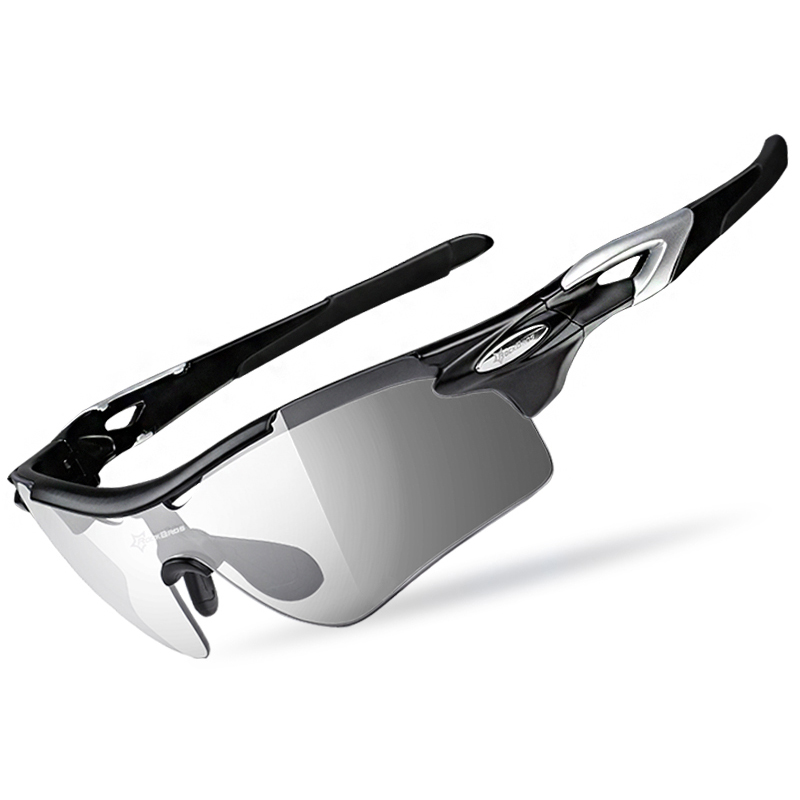 洛克兄弟骑行眼镜变色男女跑步山地自行车防风近视运动偏光太阳镜