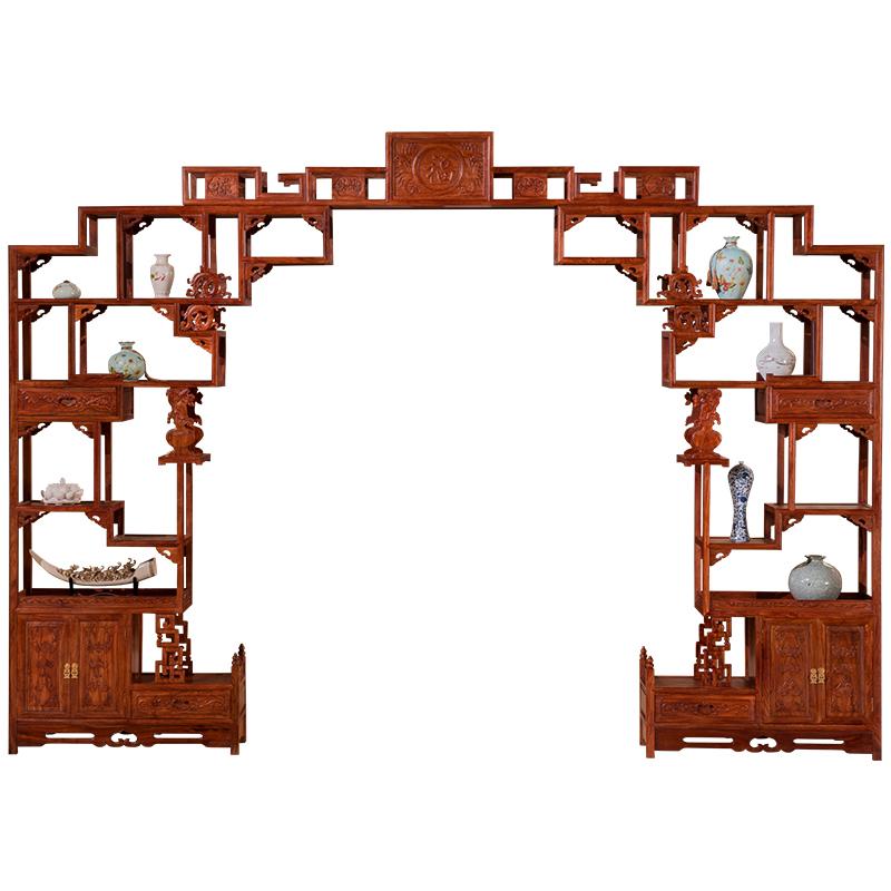 红木家具 实木月洞门博古架 仿古月亮门刺猬紫檀多宝阁红木博古架