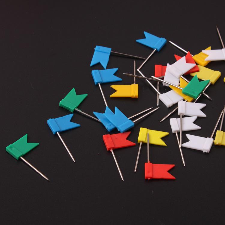 美术彩色可爱按钉创意地图钉标注红旗钉塑料金针地图标记小红旗钉