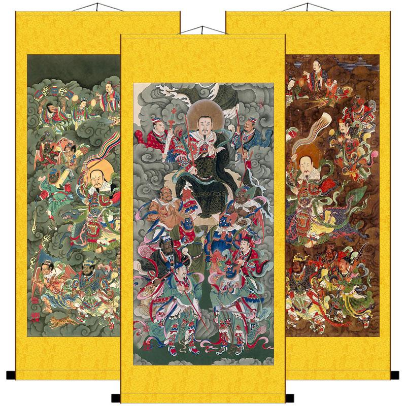 雷祖畫像九天應元雷聲普化天尊神像水陸畫絲綢卷軸掛畫結緣畫包郵