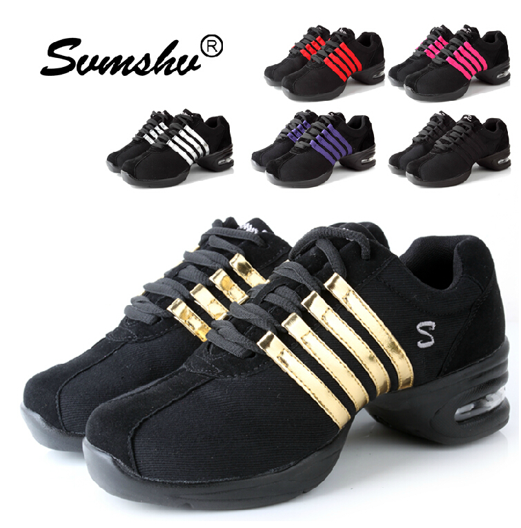 新款SAMSHA低幫帆布氣墊軟底舞蹈鞋廣場舞蹈鞋健身操增高現代舞鞋