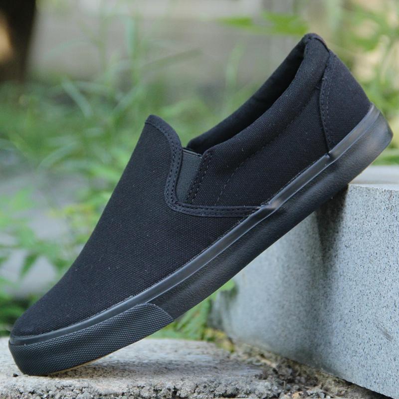 純黑色工作鞋45男老北京布鞋46套腳懶人鞋純色特大碼47板鞋帆布鞋