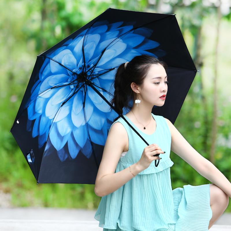 太阳伞黑胶超强防晒防紫外线遮阳伞女夏季三折晴雨伞ins伞小黑伞