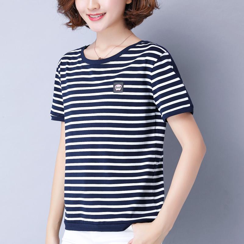 黑白条纹t恤女 短袖2021夏装新款妈妈宽松半袖衫大码纯棉上衣百搭主图