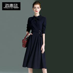 海青蓝2019新款女装a字裙子春装修身显瘦法国小众复古连衣裙过膝