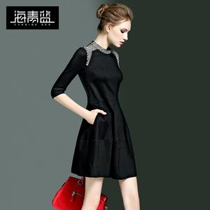 海青蓝2019春装女装新款时尚复古圆领钉珠小黑裙优雅气质连衣裙子