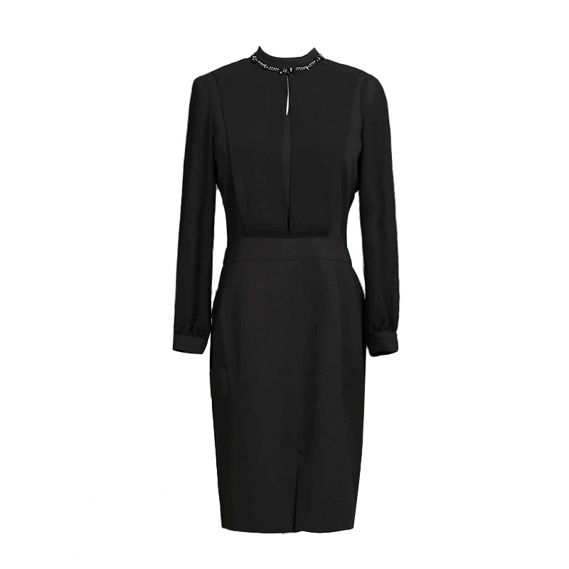 海青蓝2018春装新款纯色简约长袖立领一步裙通勤气质连衣裙女8393