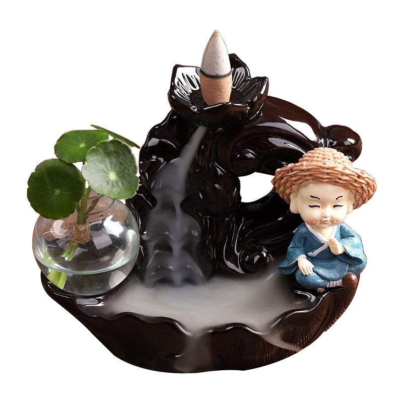 茶宠摆件精品创意陶瓷可养招财流香炉紫砂小和尚家居办公禅意茶玩