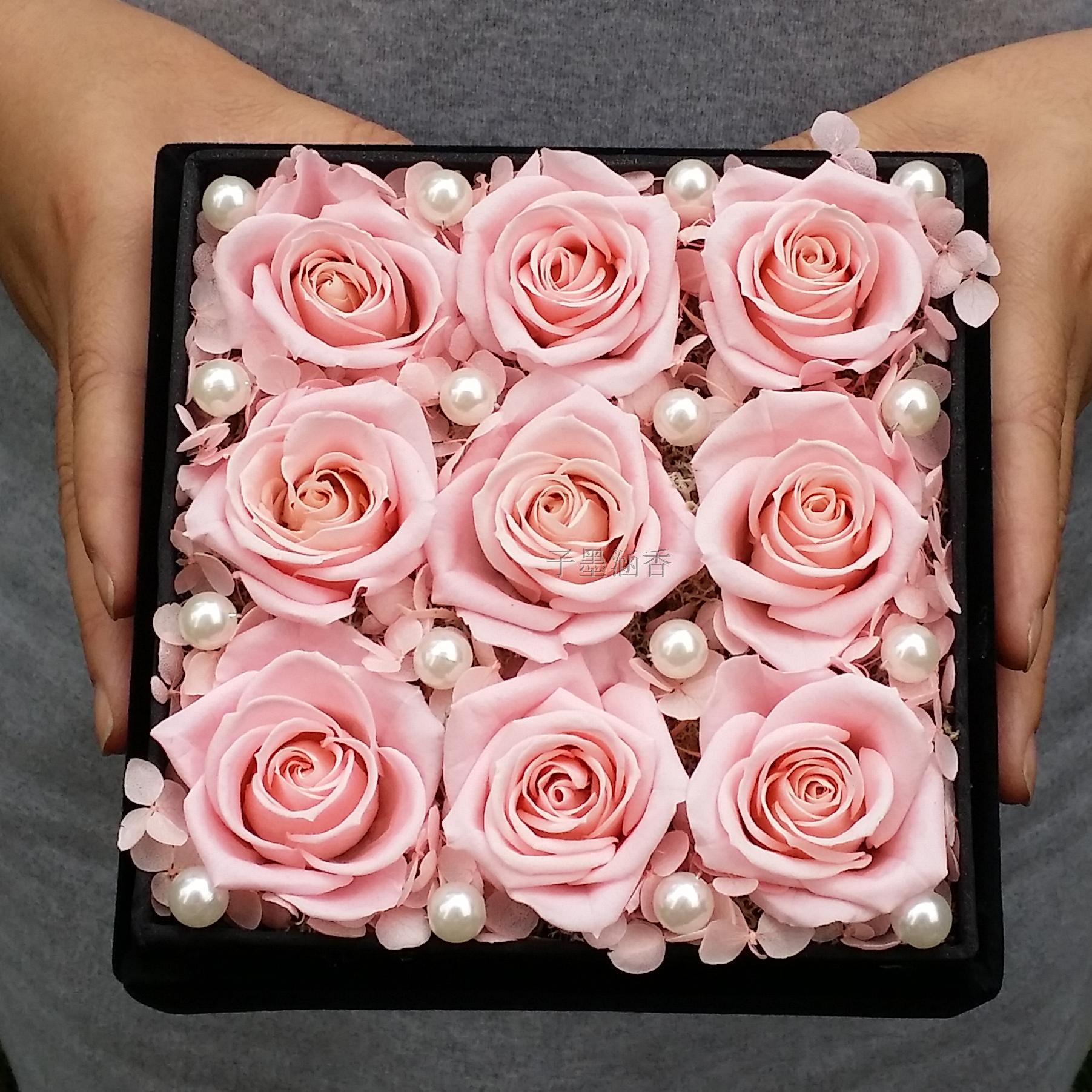 9 Pink Roses Flower Boxes Preserved Preservation Imports Rose Gift Birthday Courtship Free Shipping