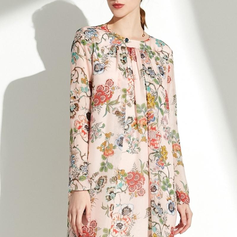 【预售】玛丝菲尔2019新款女装春装裙子中长款春季真丝连衣裙