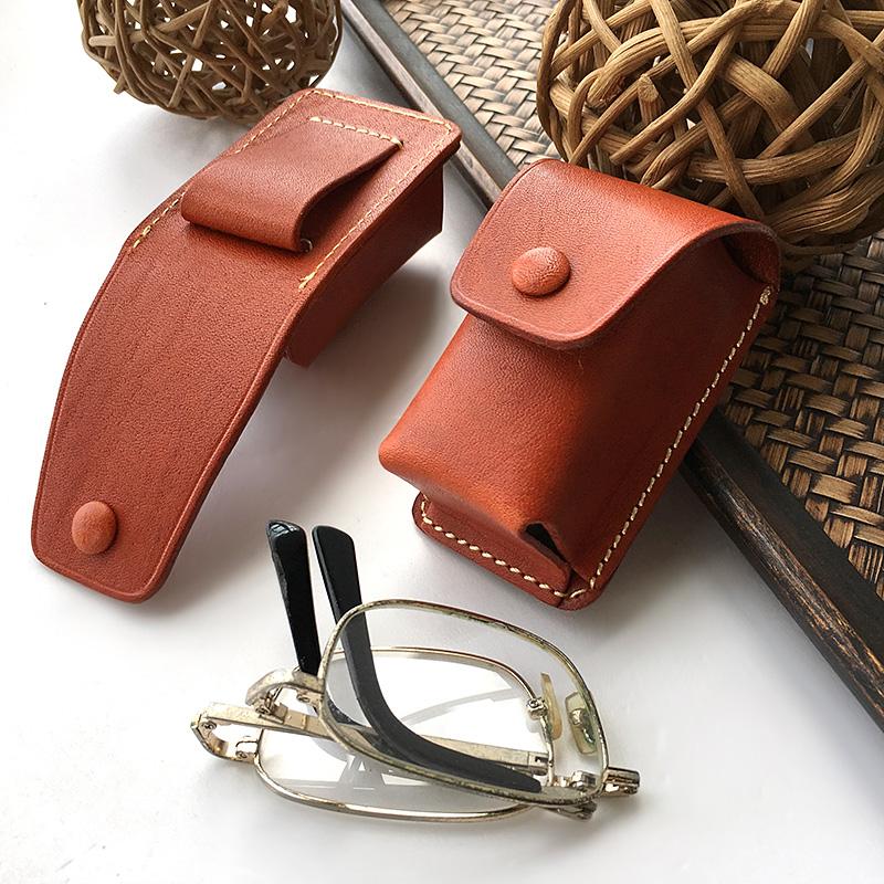 已质检头层牛皮眼镜盒老花镜套折叠眼镜包牛皮小腰包车钥匙包可挂