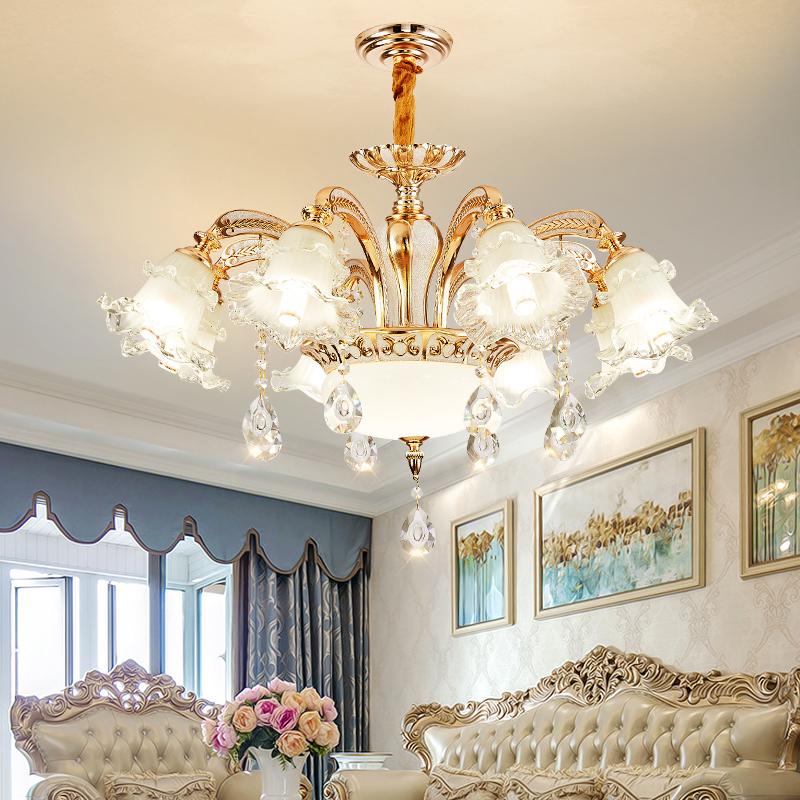 欧式吊灯客厅卧室现代简约锌合金温馨浪漫创意朝下餐厅水晶灯具