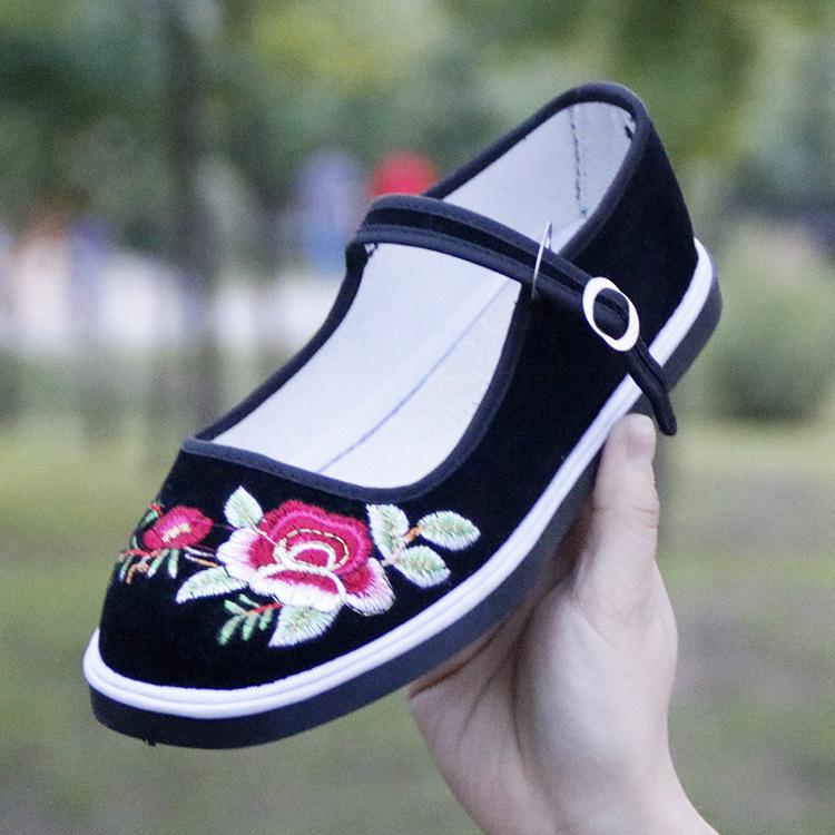 老北京布鞋批发中老年妈妈绣花鞋手工千层底浅口搭扣棉布鞋女春秋