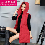 Women-style cotton vest medium-length large wool collar new autumn and winter Korean version of the down cotton horse clip cotton clothing women's coat