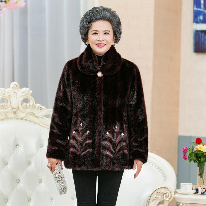 老年人冬装皮草外套女奶奶装仿貂毛貂皮大衣新款大码加厚保暖中款