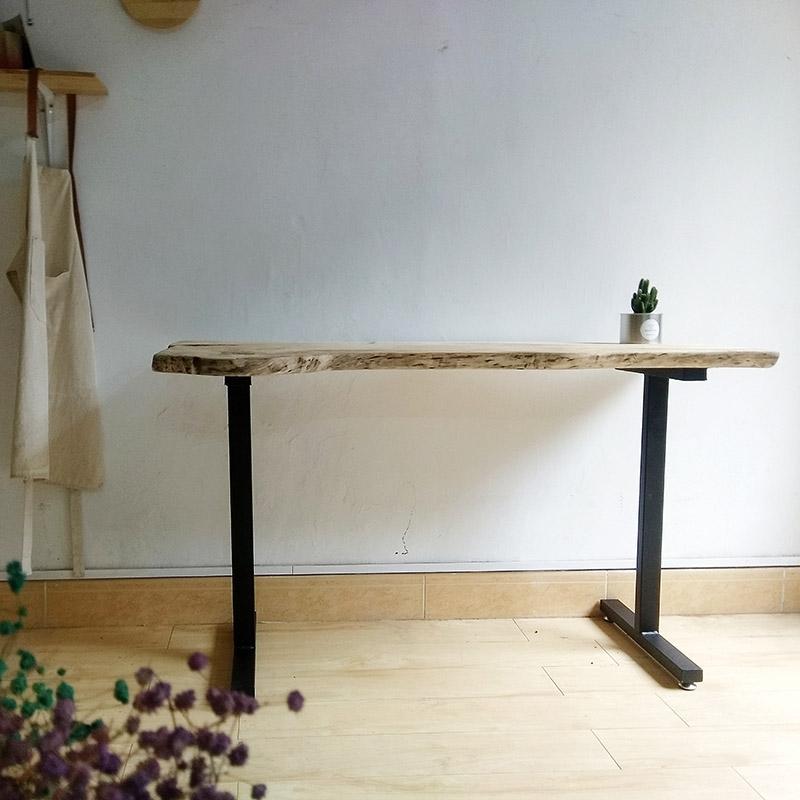 原生态实木桌子北欧LOFT铁艺咖啡厅餐桌办公桌工作台不规则餐台