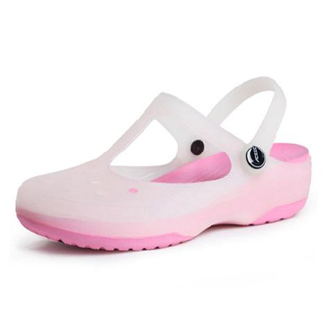 洞洞鞋女防滑2021新款玛丽珍果冻凉鞋平底夏季沙滩鞋厚底包头拖鞋 - 图3