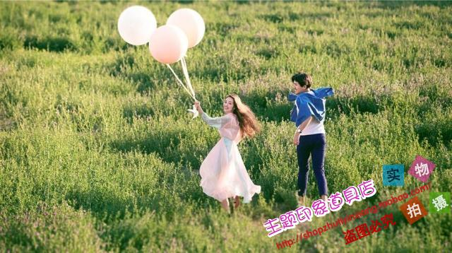 2019新款旅拍道具 白色超大气球 影楼婚纱摄影外景道具气球飘空