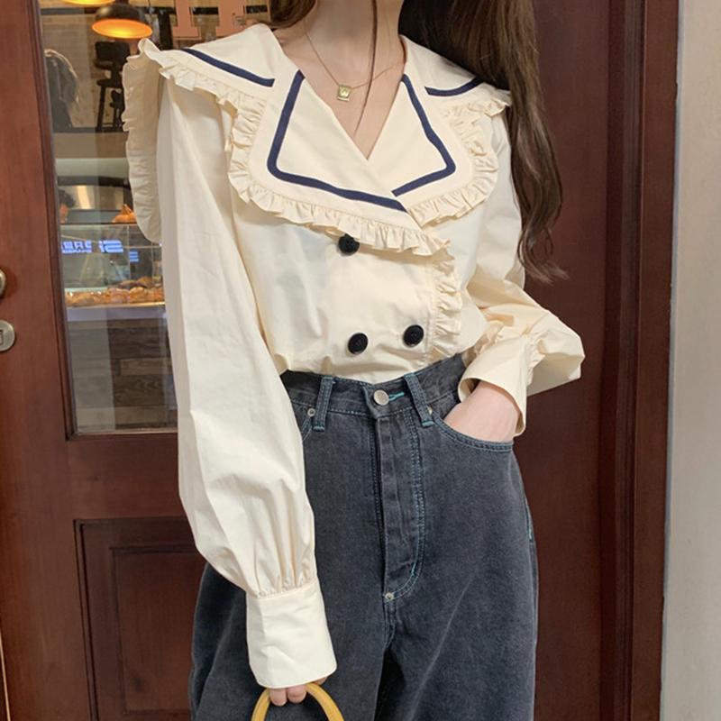韩国ins秋季百搭简约撞色木耳边娃娃领双排扣长袖衬衫上衣女