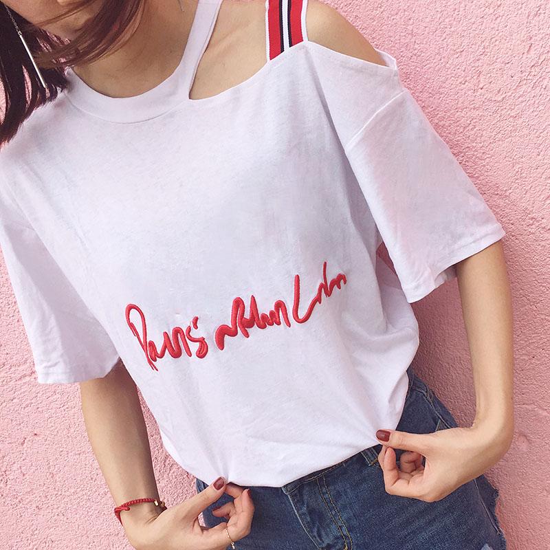 韩版新款斜肩不规则有机棉麻条纹短袖字母刺绣宽松T恤女款上衣潮