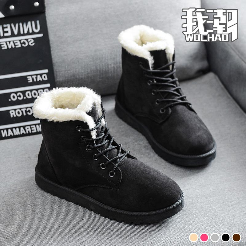 2019新款秋冬季加绒加厚平底雪地靴棉鞋短靴女鞋短筒马丁靴女靴子