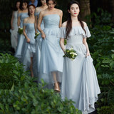Sisters group bridesmaid dress female 2019 new gray long section spring and summer word thin wedding dress Liu Yifei fairy temperament
