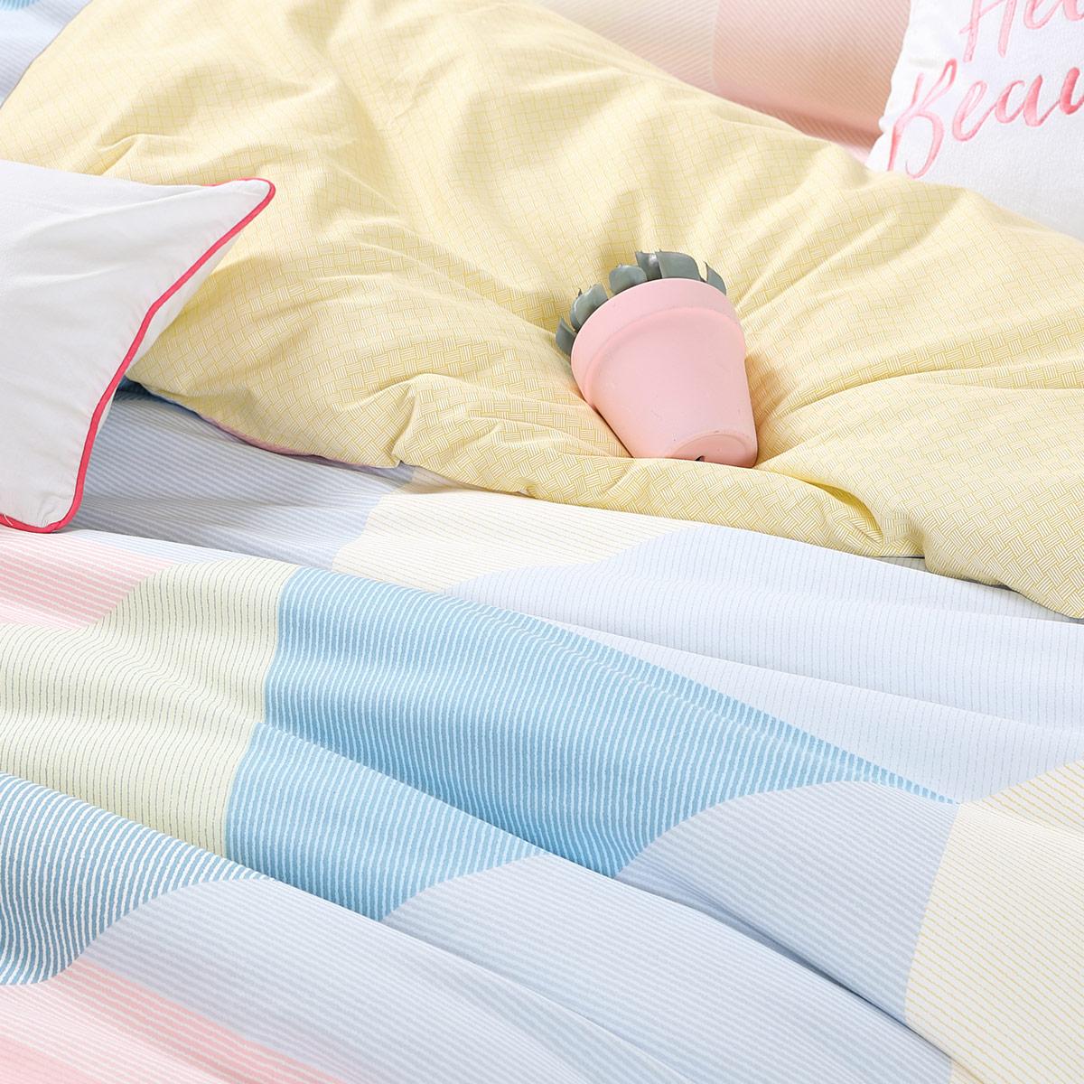 新品 2019 水星家纺四件套全棉纯棉简约北欧风被套多伦颂床上用品冬