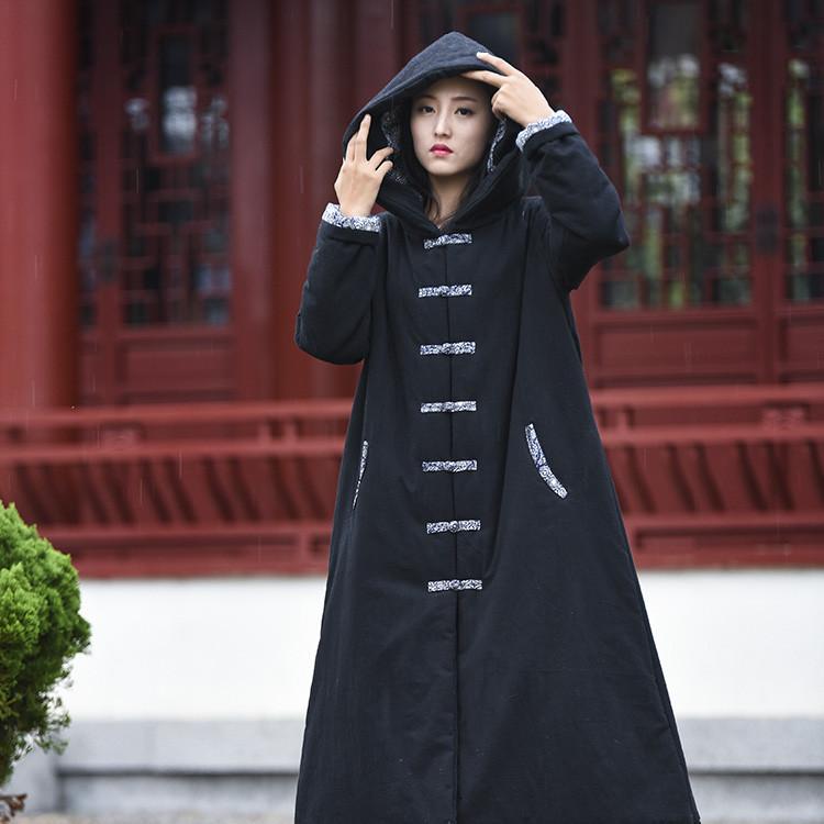 棉麻外套女冬长款连帽大衣夹棉风衣加厚袍子盘扣大码棉袄中式棉衣