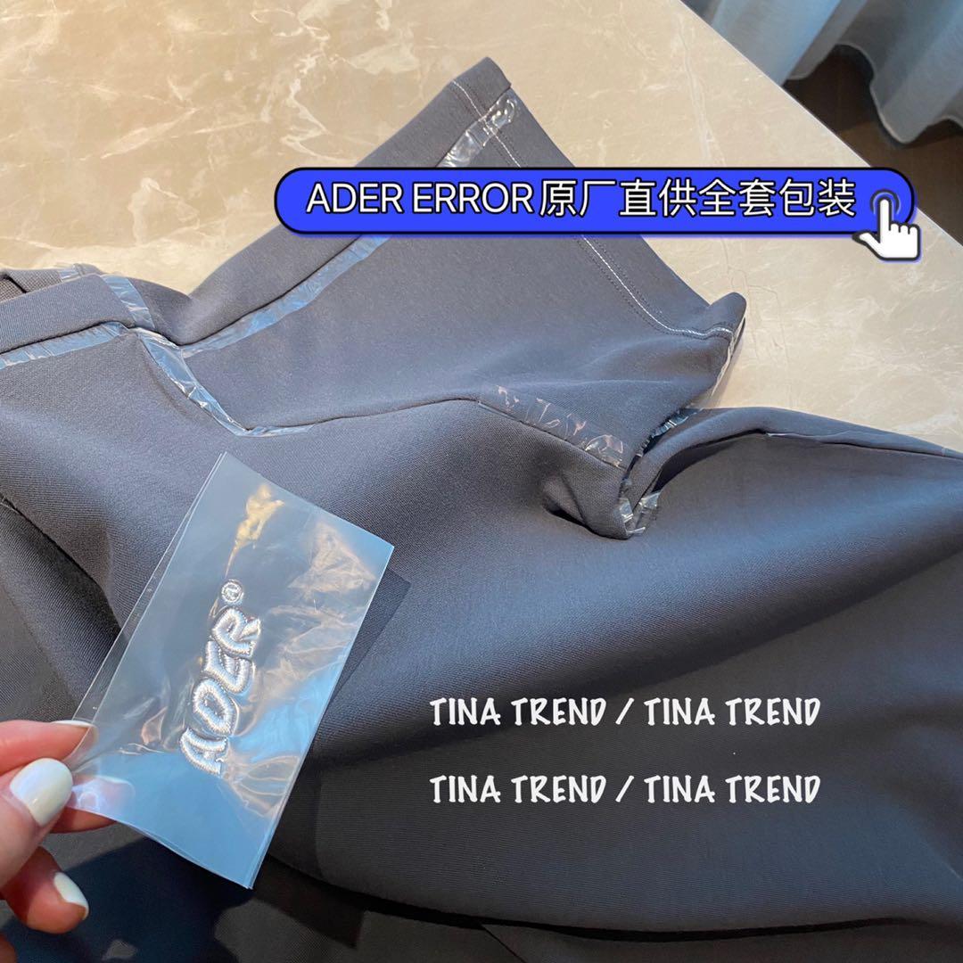 ADERERROR正品】迪丽热巴同款代工厂直供全包装塑料领边灰短袖T恤