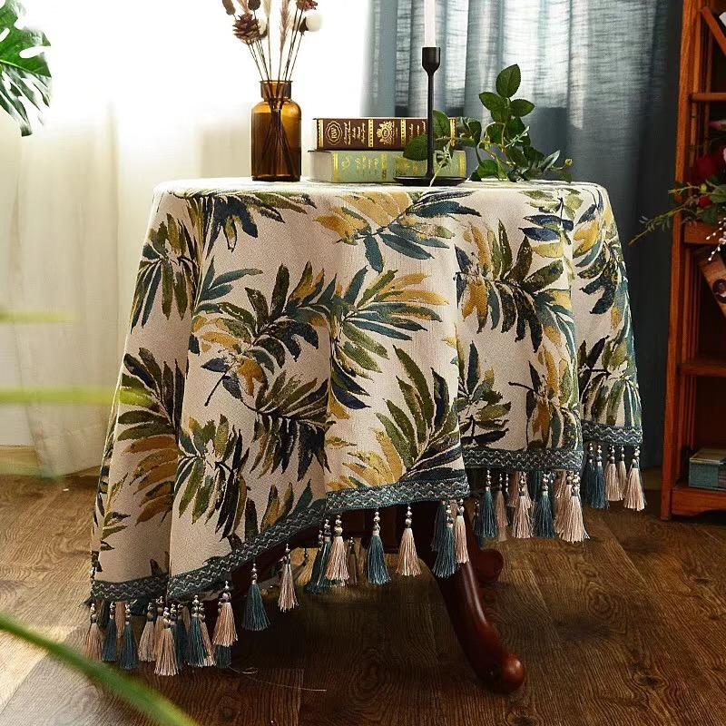 【热带雨林】 美式乡村棉麻提花桌旗/桌布/床尾巾/台布 定制