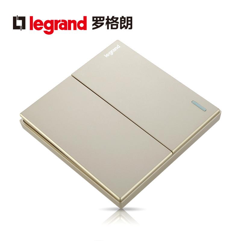 罗格朗开关插座面板仕典金色二开单控带荧光二位单极电源86型