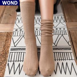 堆堆袜子女中筒袜秋冬季加厚保暖长袜韩国纯色女棉袜咖啡色直筒袜