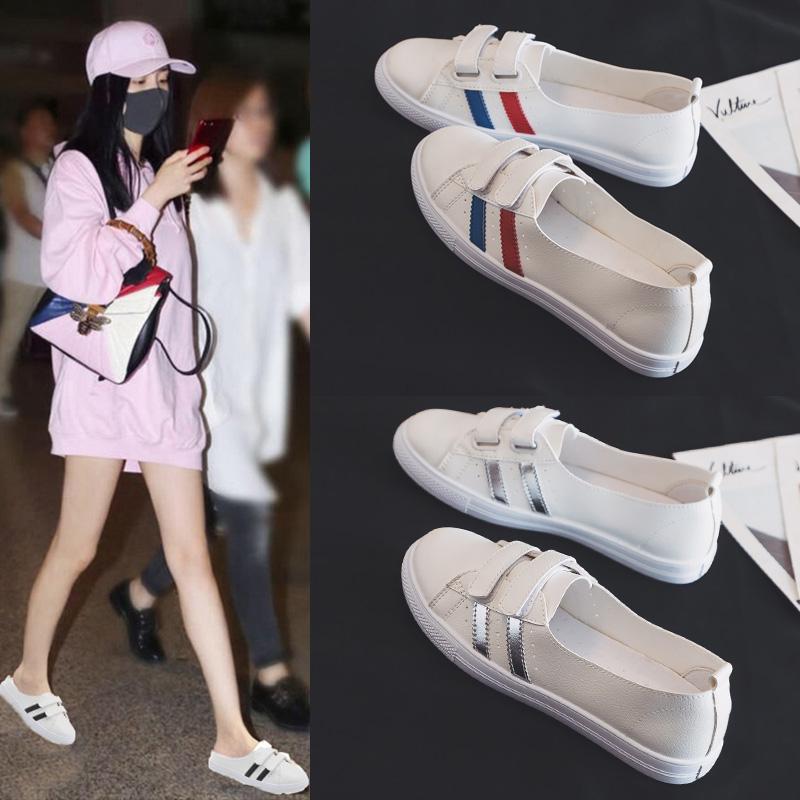 2020夏季新款淺口小白鞋女夏款透氣學生百搭春款一腳蹬懶人鞋春季