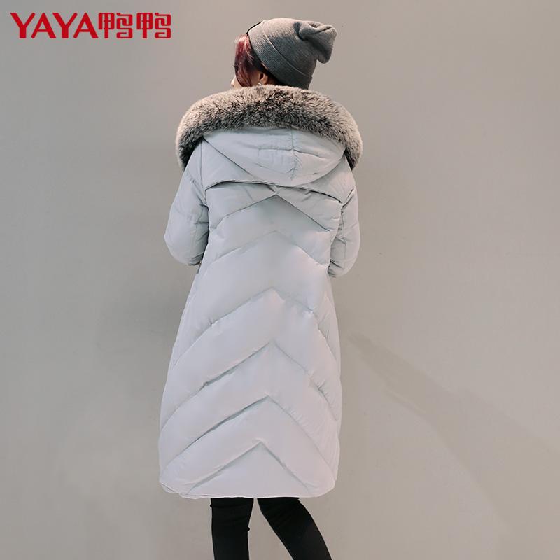 鸭鸭狐狸毛领女连帽贴布绣中长款羽绒服 厚款冬装外套B 56299