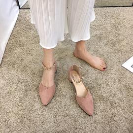 尖头单鞋女2020春款新款百搭淑女一字扣带中跟凉鞋粗跟网红高跟鞋