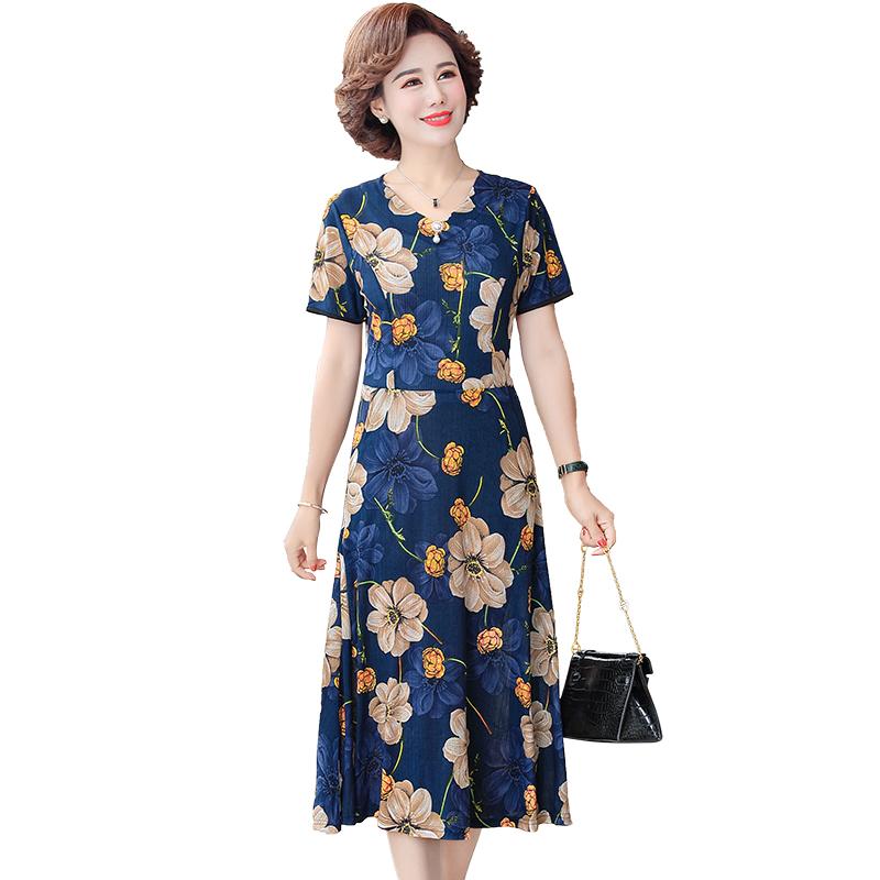 中年妈妈夏装连衣裙2020新款40岁50中老年人女装洋气质中长款裙子【图5】