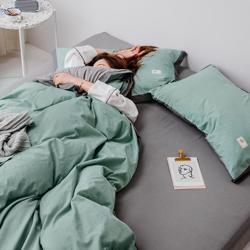 北欧纯色被套床单床品床笠款套件 简约双拼全棉水洗棉床上四件套