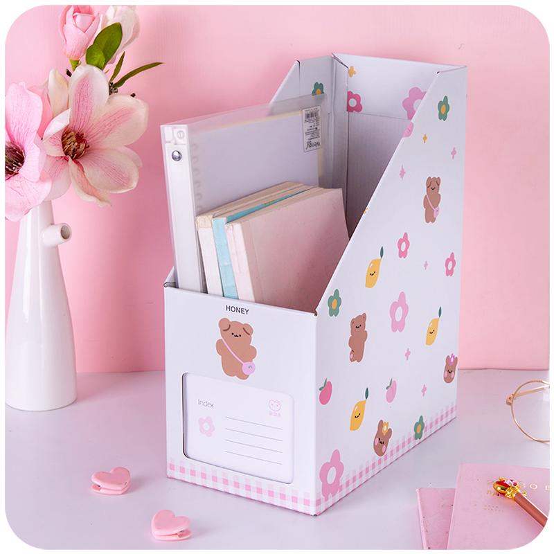 书本文件夹桌面收纳盒书桌纸质书架文具学生可爱书立盒宿舍大学生