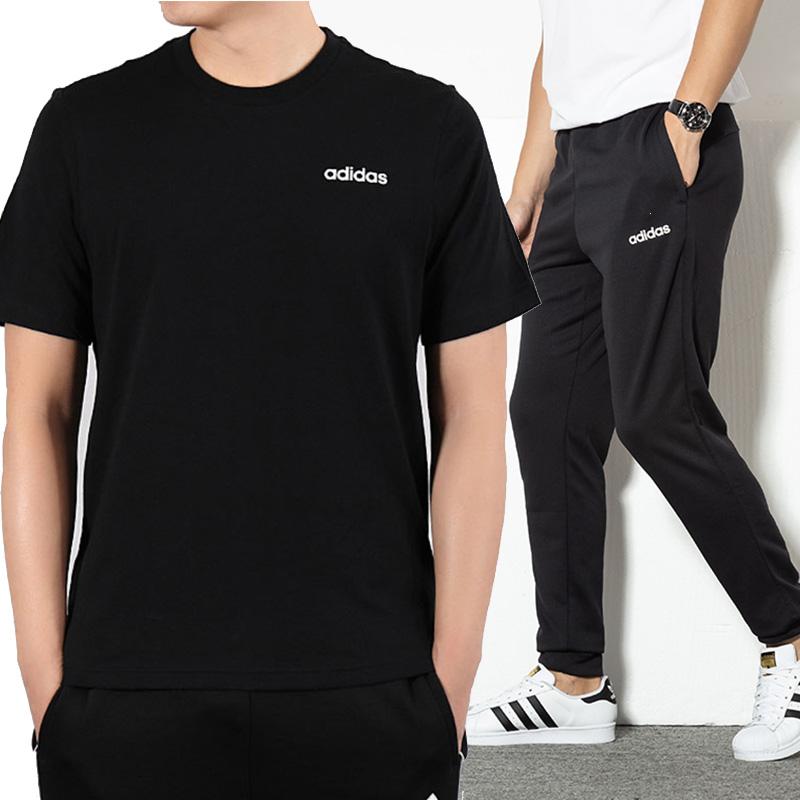 Adidas阿迪达斯套装男士2020夏季新款运动服圆领半袖短袖休闲长裤
