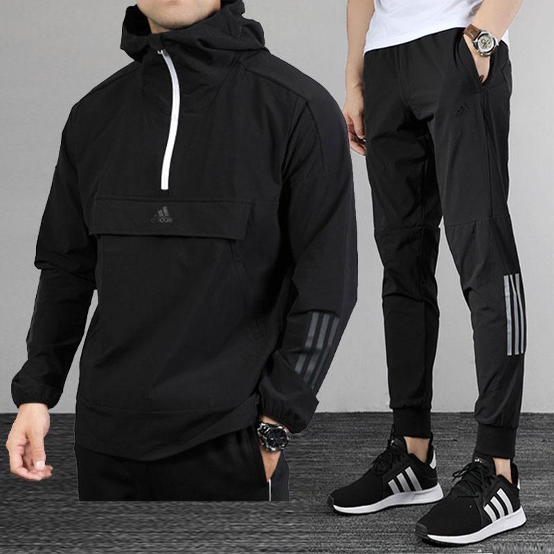 阿迪达斯运动套装男2020夏季新款运动服连帽卫衣套头衫收口长裤