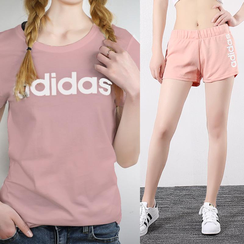 阿迪达斯运动服套装女2020夏季新款透气速干短袖健身T恤热裤短裤