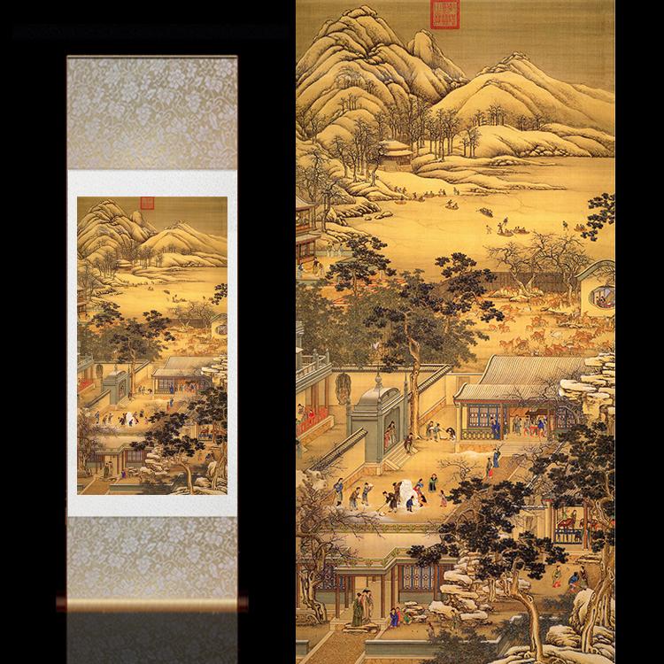 郎世寧國畫古風卷軸畫古典壁畫定制酒店裝飾十二月令客廳卷軸掛畫
