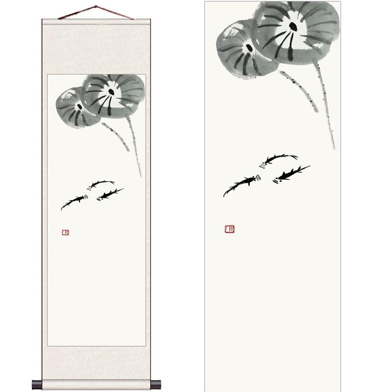 齐白石花鸟画国画卷轴画书房客厅挂画条幅丝绸画送客户风水装饰画