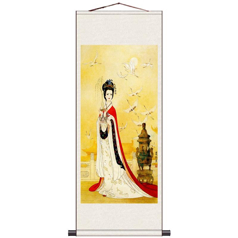 茶楼古典仕女图丝绸画国画卷轴画吹箫仕女荷塘仕女风水装饰画条幅