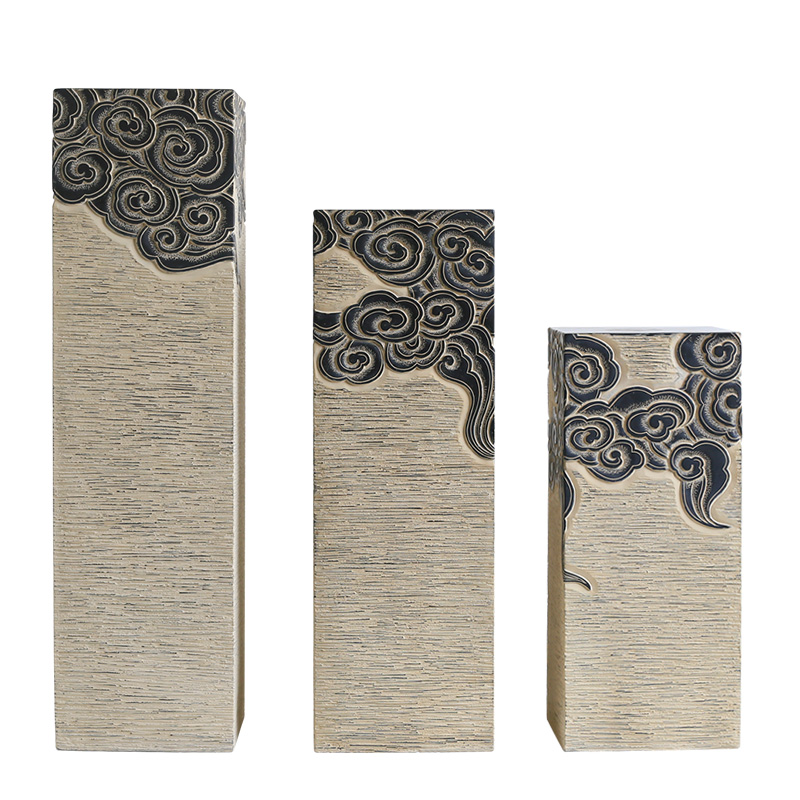新中式禅意仿古祥云展示柱落地摆件家居饰品客厅过道玄关装饰底座